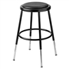 "NPS 19-27""H Adjustable Height Heavy Duty Stool with Vinyl Padding - Black (National Public Seating NPS-6418H-10)"