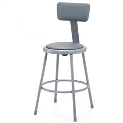 "NPS 24""H Stool with Padded Seat and Backrest  (National Public Seating NPS-6424B)"