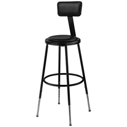 Adjustable Height Stool with Padded Seat and Backrest - Black (National Public Seating NPS-6424HB-10)