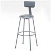 "NPS 30""H Stool with Padded Seat and Backrest  (National Public Seating NPS-6430B)"