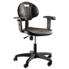 "NPS Polyurethane Task Chair with Arms, 16""-21"" Height, Black National Public Seating NPS-6716HB-A"