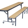 NPS 7' Mobile Convertible Bench Unit with Plywood Tops and Benches<br>(National Public Seating NPS-CB84PW)
