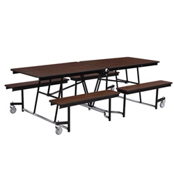 "NPS Quick Ship Mobile Cafeteria Table - 30"" W x 12' L - Seats 12-16 (National Public Seating NPS-MTFB12-QUICKSHIP)"