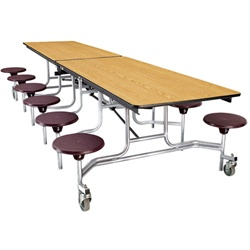 "NPS Mobile Cafeteria Table - 30"" W x 10' L - 12 Stools(National Public Seating NPS-MTS10)"