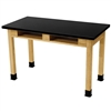 "NPS Science Lab Table - Chem-Res Top - Dual Book Compartment - 24"" x 72""<br> (National Public Seating NPS-SLT2472-BC)"