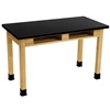 "NPS Science Lab Table 36""H - Chem-Res Top - Dual Book Compartment - 24"" x 72""<br> (National Public Seating NPS-SLT2472-36-BC)"
