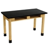 "NPS Science Lab Table 36""H - Chem-Res Top - Dual Book Compartment - 30"" x 72""<br> (National Public Seating NPS-SLT3072-36-BC)"