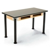 "NPS Adjustable Science Lab Table - Chem-Res Top - Dual Book Compartment - 24"" x 48""<br> (National Public Seating NPS-SLT2448AH-10-BC)"
