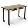 "NPS Adjustable Science Lab Table - Chem-Res Top - Dual Book Compartment w/ Casters - 24"" x 48""<br> (National Public Seating NPS-SLT2448AH-10-BC-CAST)"