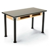 "NPS Adjustable Science Lab Table - Chem-Res Top - Dual Book Compartment - 24"" x 60""<br> (National Public Seating NPS-SLT2460AH-10-BC)"