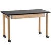 "NPS Adjustable Science Lab Table - Chem-Res Top - Plain Front w/ Casters - 24"" x 60""<br> (National Public Seating NPS-SLT2460AH-OK-CAST)"