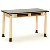 "NPS Adjustable Science Lab Table - Chem-Res Top - Dual Book Compartment - 24"" x 72""<br> (National Public Seating NPS-SLT2472AH-OK-BC)"