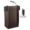 Oklahoma Sound Vision Lectern with Sound & Wireless Tie Clip/Lavalier Mic, Ribbonwood<br> (Oklahoma Sound OKL-611S-RW-LWM-6)