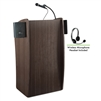 Oklahoma Sound Vision Lectern with Sound & Wireless Headset Mic, Ribbonwood<br> (Oklahoma Sound OKL-611S-RW-LWM-7)
