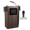 Oklahoma Sound Vision Lectern with Sound & Screen & Wireless Handheld Mic, Ribbonwood<br> (Oklahoma Sound OKL-612S-RW-LWM-5)