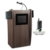 Oklahoma Sound Vision Lectern with Sound & Screen & Wireless Tie Clip/Lavalier Mic, Ribbonwood<br> (Oklahoma Sound OKL-612S-RW-LWM-6)