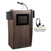 Oklahoma Sound Vision Lectern with Sound & Screen & Wireless Headset Mic, Ribbonwood<br> (Oklahoma Sound OKL-612S-RW-LWM-7)