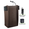 Oklahoma Sound Vision Lectern with Sound, Rechargeable Battery & Wireless Tie Clip/Lavalier Mic, Ribbonwood<br> (Oklahoma Sound OKL-M611S-RWLWM-6)