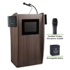 Oklahoma Sound Vision Lectern with Sound & Screen, Rechargeable Battery & Wireless Handheld Mic, Ribbonwood<br> (Oklahoma Sound OKL-M612S-RW-LWM-5)