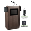 Oklahoma Sound Vision Lectern with Sound & Screen, Rechargeable Battery & Wireless Tie Clip/Lavalier Mic, Ribbonwood<br> (Oklahoma Sound OKL-M612S-RW-LWM-6)