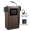 Oklahoma Sound Vision Lectern with Sound & Screen, Rechargeable Battery & Wireless Headset Mic, Ribbonwood<br> (Oklahoma Sound OKL-M612S-RW-LWM-7)