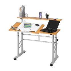Safco Height Adjustable Split Level Drafting Table - Medium Oak  (Safco SAF-3965)