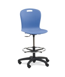 "Virco SGLAB - Sage Series Ergonomic Plastic Mobile Lab Stool with Chrome Footring and Black Base/Wheels - Seat Adjusts from 19 1/2"" to 27""  (Virco SGLAB)"