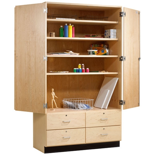 Shain Tall Wood Storage Cabinet w/ Drawers - 48 W x 22 D  sc 1 st  School Outlet & Shain Tall Wood Storage Cabinet W/ Drawers - 48