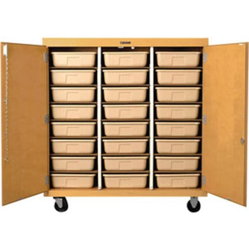 """shain mobile tote tray storage cabinet w/ doors - 48""""w x 51""""h"""