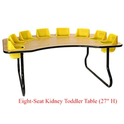 "Eight-Seat Kidney Toddler Table (27"" H)  (Toddler Tables TOD-TT827)"