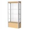 "Waddell Contempo 601 Lighted Floor Case w/ White Back & Light Maple Base - 36""W x 72""H x 14""D<br>(Waddell WAD-601-WB-LM)"