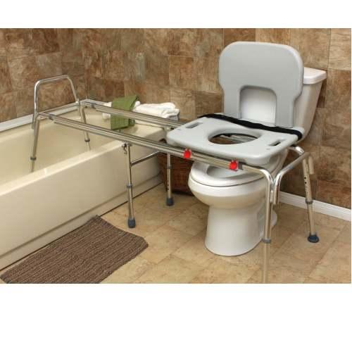 Toilet to Tub Sliding Transfer Bench Eagle 77993 - Extra Long Glider ...