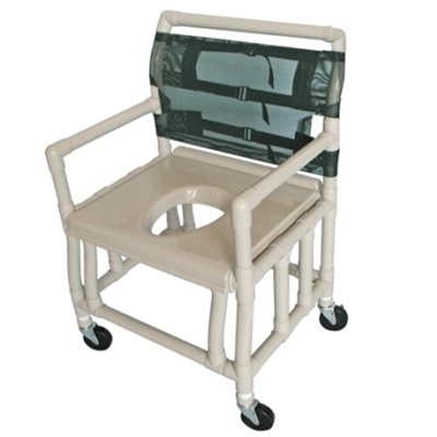 PVC Bariatric Shower Commode Chair - Heavy-Duty, Extra-Wide