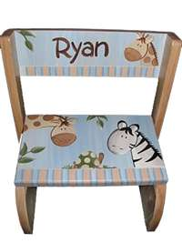 Blue Animal Safari Personalized Flip stool