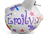 butterfly Dragonflies flowers piggy bank