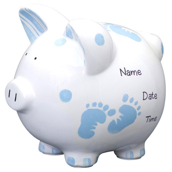 Custom Baby Piggy Bank Personalized Blue And White Piggy