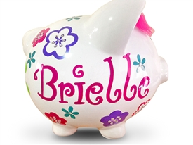Fuschia Teal Crystal piggy bank