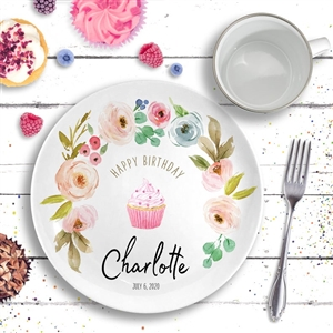 Happy Birthday Ceramic Plate Floral Pink