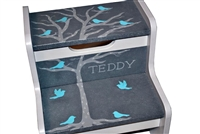 Grey Tree Birds storage stool