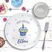 Happy Birthday Ceramic Plate Blue Cupcake