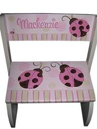 Pink and Brown Ladybug Flip stool