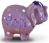 Lavender Dots elephant piggy bank