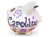 Lavendar navy flowers piggy bank