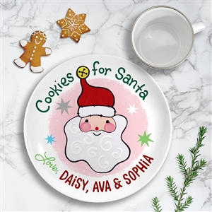 Santa Cookie Ceramic plate personalized pink