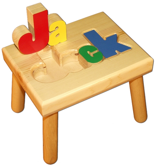 Amazing Personalized Puzzle Step Stool Small Solid Wood Onthecornerstone Fun Painted Chair Ideas Images Onthecornerstoneorg