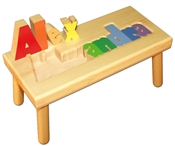 Personalized Puzzle step stool large SOLID wood