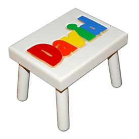 Personalized Puzzle white step stool small SOLID wood