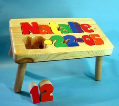 Personalized Name Amp Birthday Stool Natural Wood Puzzle Stool