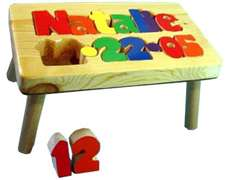personalized puzzle step stool Nat Birthdate