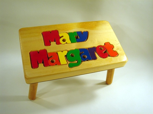 Name Puzzle Stool Personalized Puzzle Stool Tiny Keepsakes